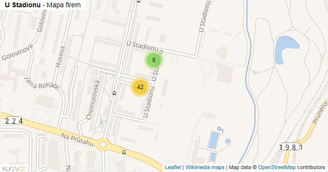 Mapa U Stadionu - Firmy v ulici.