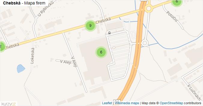 Mapa Chebská - Firmy v ulici.
