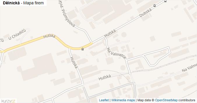 Mapa Dělnická - Firmy v ulici.