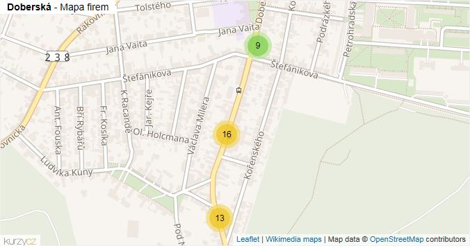 Mapa Doberská - Firmy v ulici.
