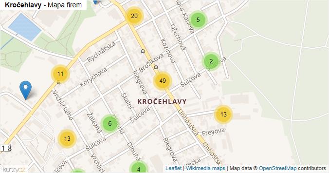 Mapa Kročehlavy - Firmy v části obce.