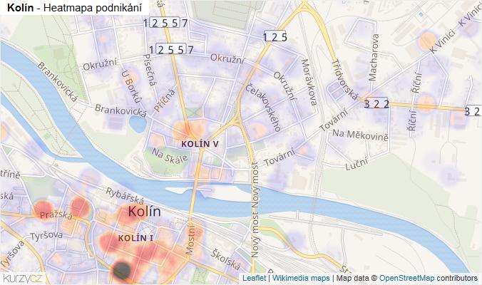 Mapa Kolín - Firmy v obci.