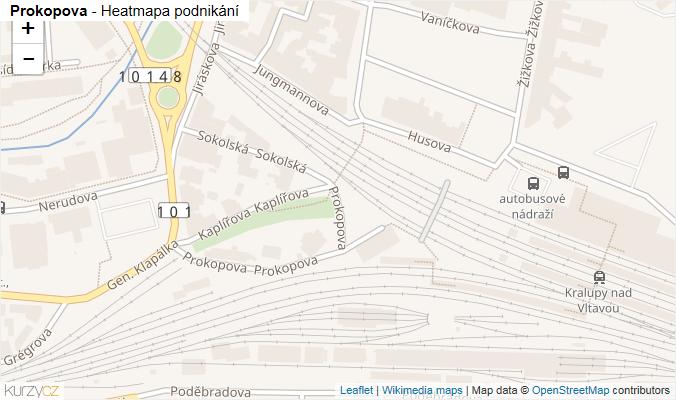 Mapa Prokopova - Firmy v ulici.