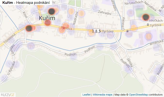 Mapa Kuřim - Firmy v obci.