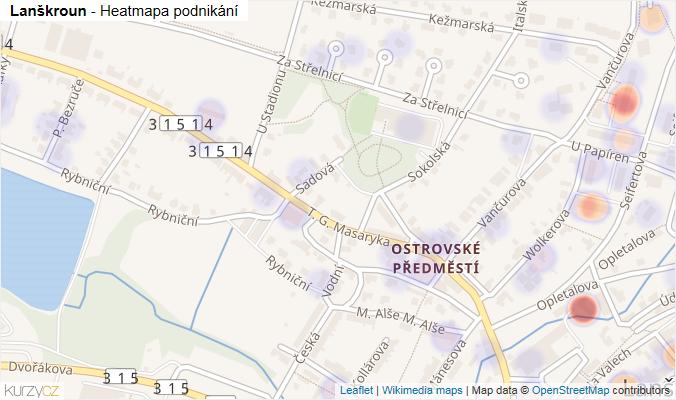 Mapa Lanškroun - Firmy v obci.