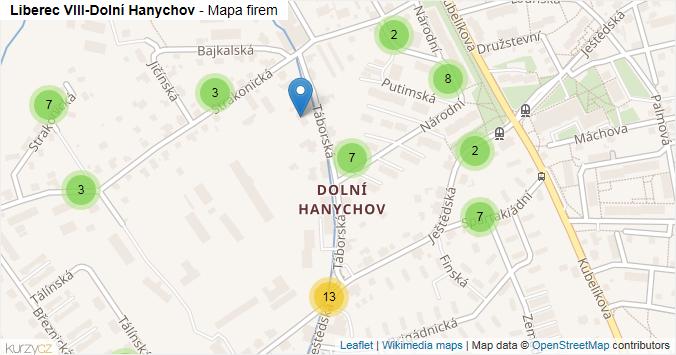 Mapa Liberec VIII-Dolní Hanychov - Firmy v části obce.