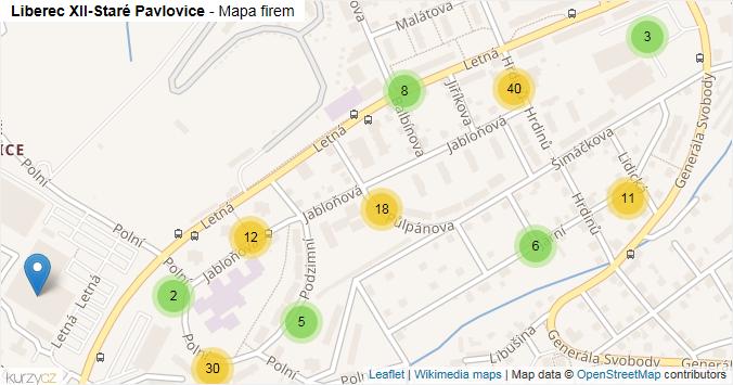 Mapa Liberec XII-Staré Pavlovice - Firmy v části obce.