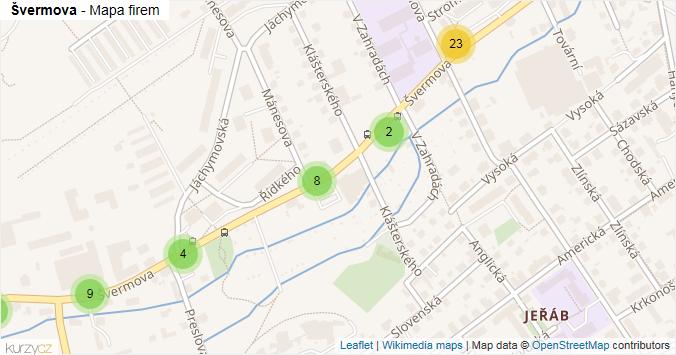 Mapa Švermova - Firmy v ulici.