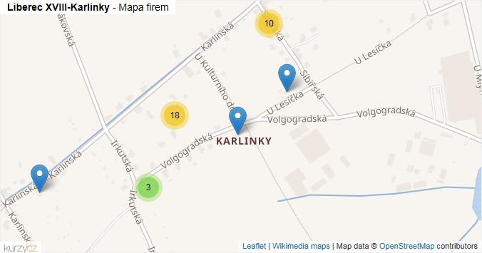 Mapa Liberec XVIII-Karlinky - Firmy v části obce.