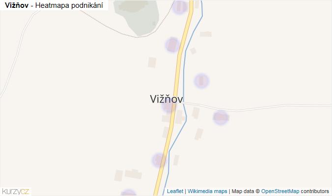 Mapa Vižňov - Firmy v části obce.