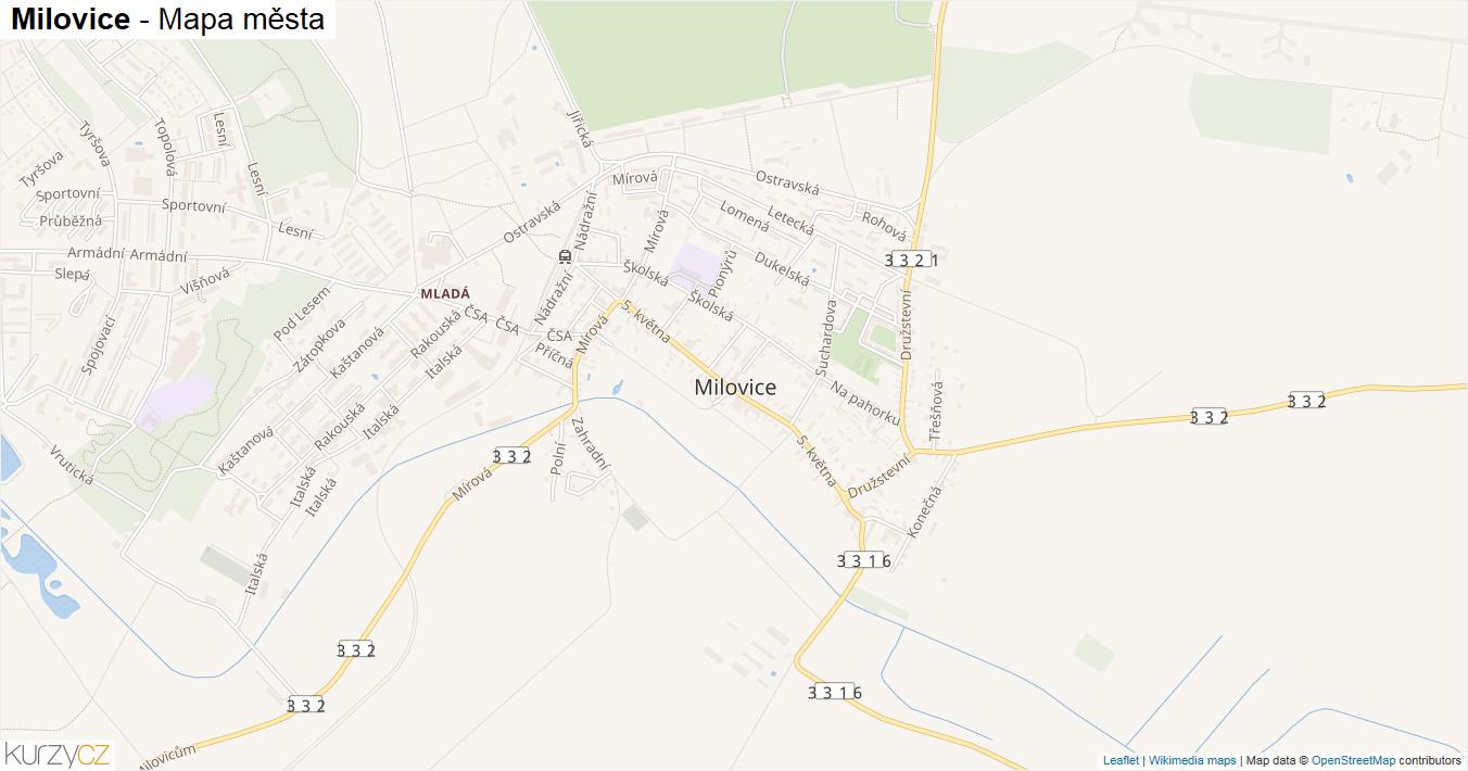 Milovice - mapa města