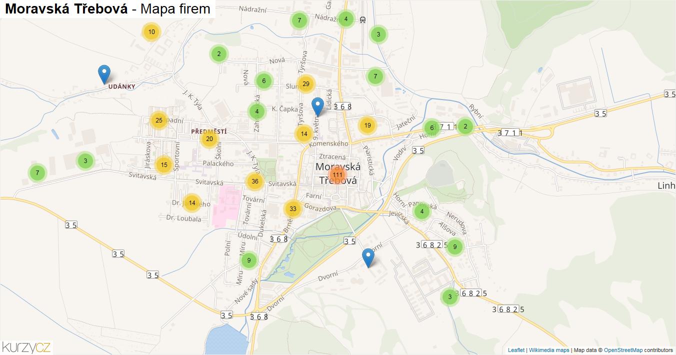 Moravská Třebová - mapa firem