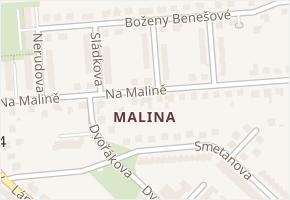 Na Malině v obci Napajedla - mapa ulice