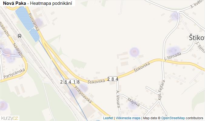 Mapa Nová Paka - Firmy v obci.