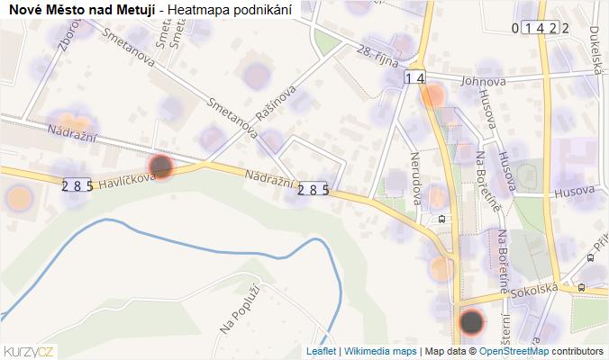 Mapa Nové Město nad Metují - Firmy v obci.