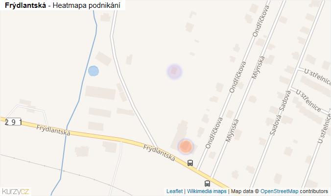 Mapa Frýdlantská - Firmy v ulici.