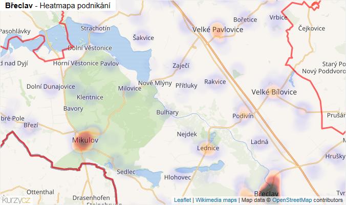 Mapa Břeclav - Firmy v okrese.