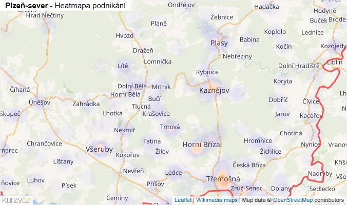Mapa Plzeň-sever - Firmy v okrese.