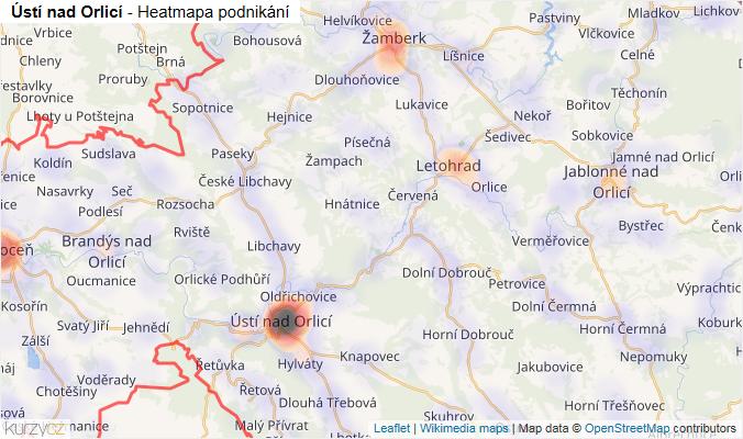 Mapa Ústí nad Orlicí - Firmy v okrese.