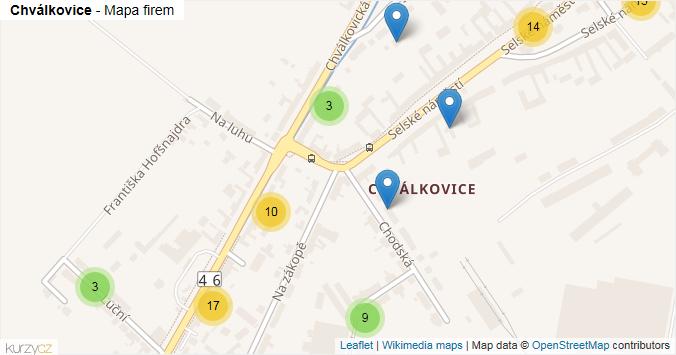 Mapa Chválkovice - Firmy v části obce.