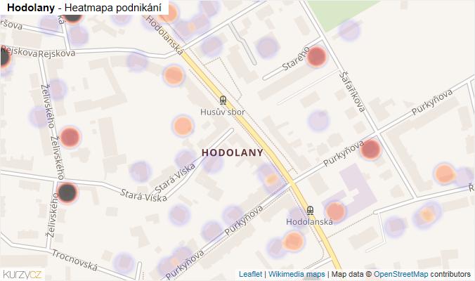 Mapa Hodolany - Firmy v části obce.