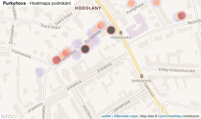 Mapa Purkyňova - Firmy v ulici.