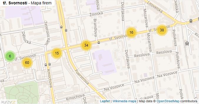 Mapa tř. Svornosti - Firmy v ulici.