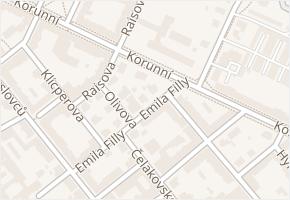 Korunní v obci Ostrava - mapa ulice