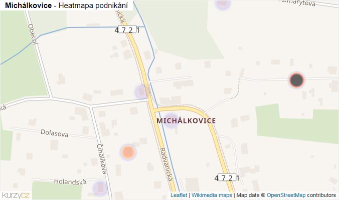 Mapa Michálkovice - Firmy v části obce.