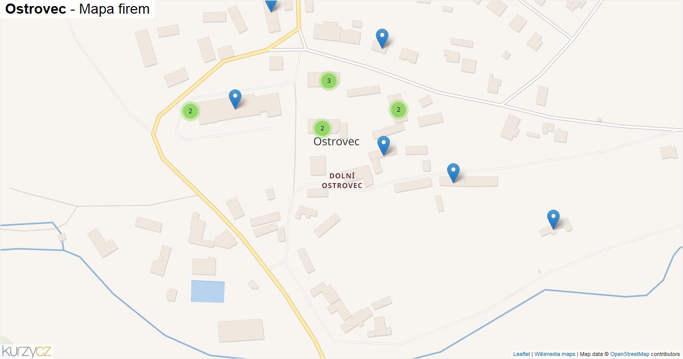 Ostrovec - mapa firem