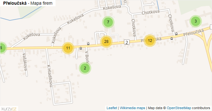 Mapa Přeloučská - Firmy v ulici.