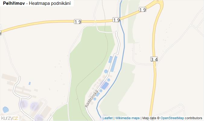 Mapa Pelhřimov - Firmy v obci.