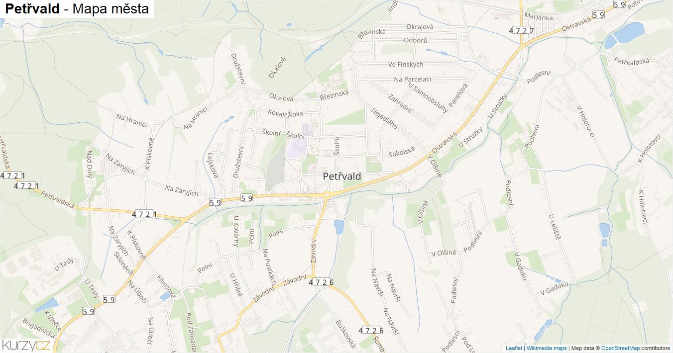 Petřvald - mapa města