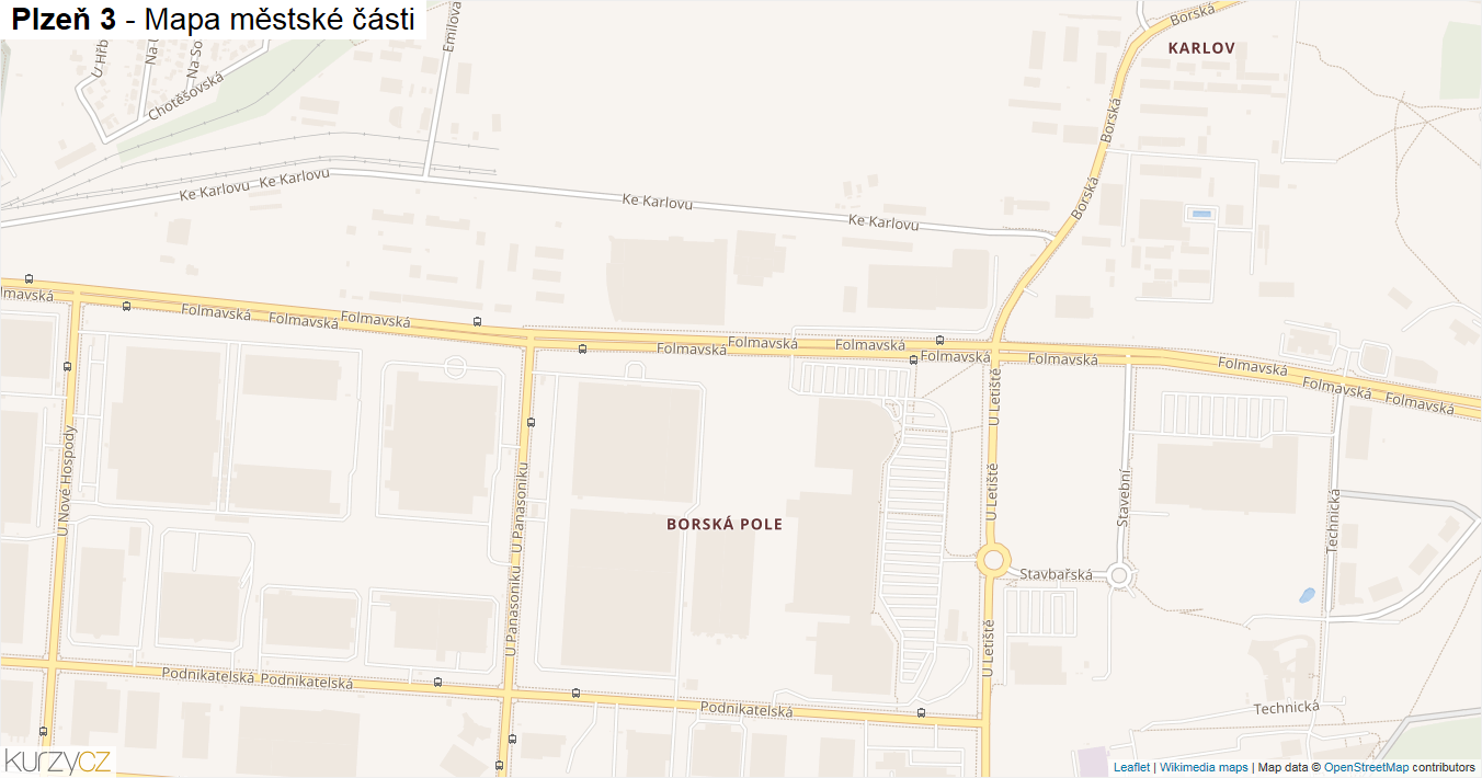 Plzeň 3 - mapa městské části