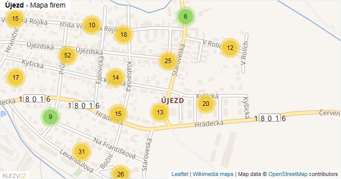 Mapa Újezd - Firmy v části obce.