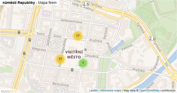 Mapa náměstí Republiky - Firmy v ulici.