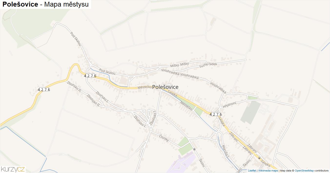 Polešovice - mapa městysu