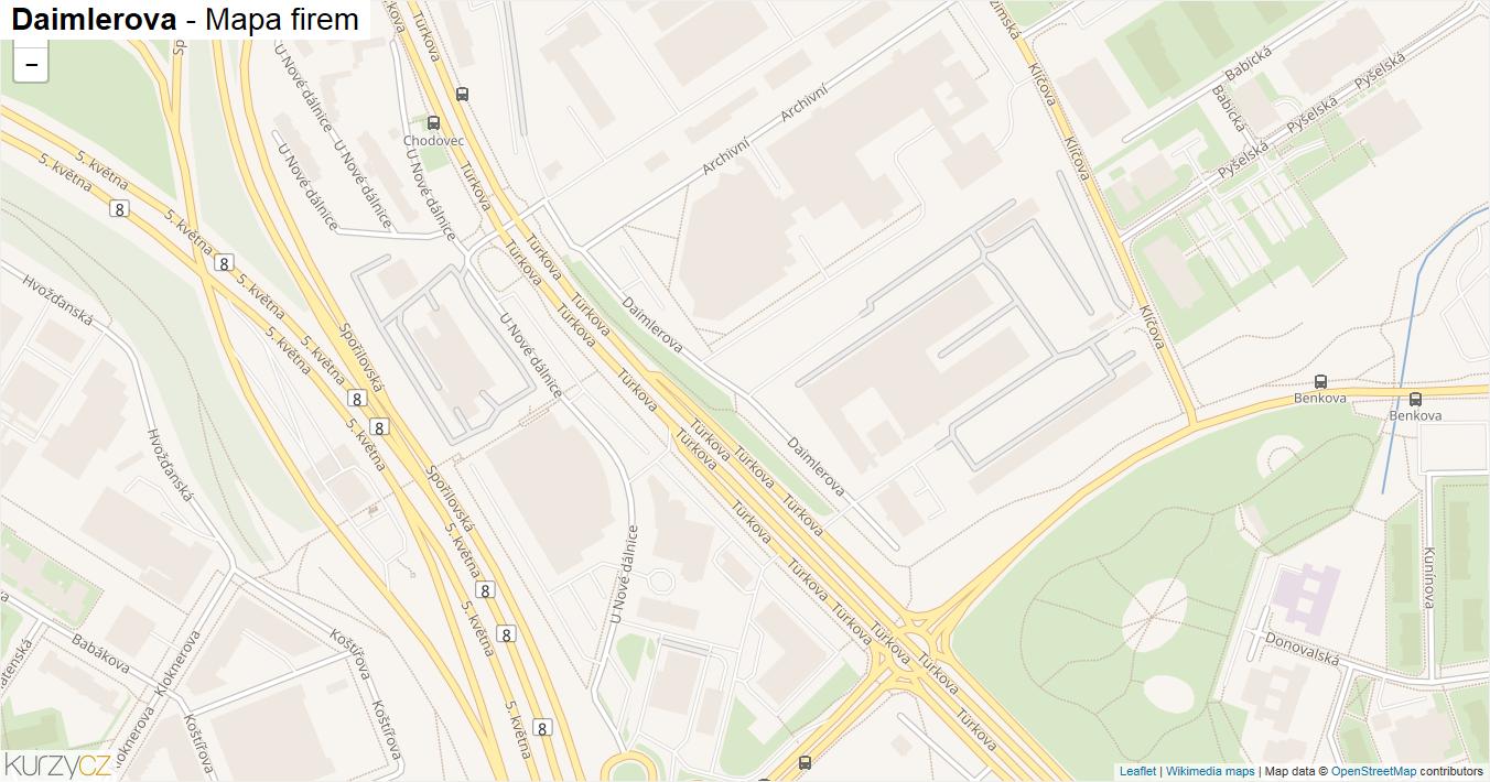 Daimlerova - mapa firem