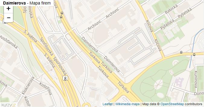 Mapa Daimlerova - Firmy v ulici.