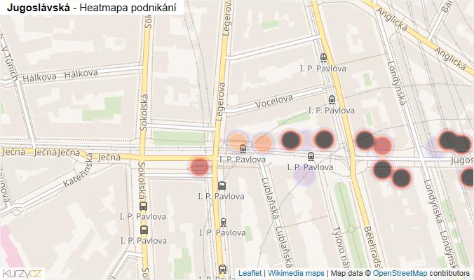 Mapa Jugoslávská - Firmy v ulici.