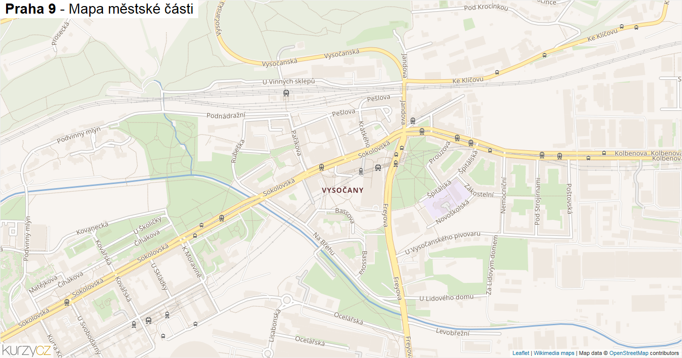 Praha 9 - mapa městské části