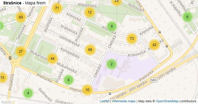 Mapa Strašnice - Firmy v části obce.