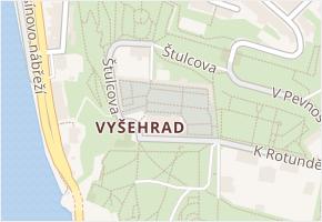 Vyšehrad v obci Praha - mapa části obce