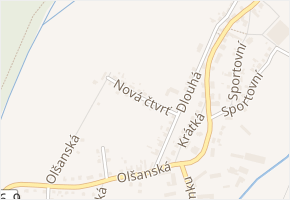 Nová čtvrť v obci Ruda nad Moravou - mapa ulice