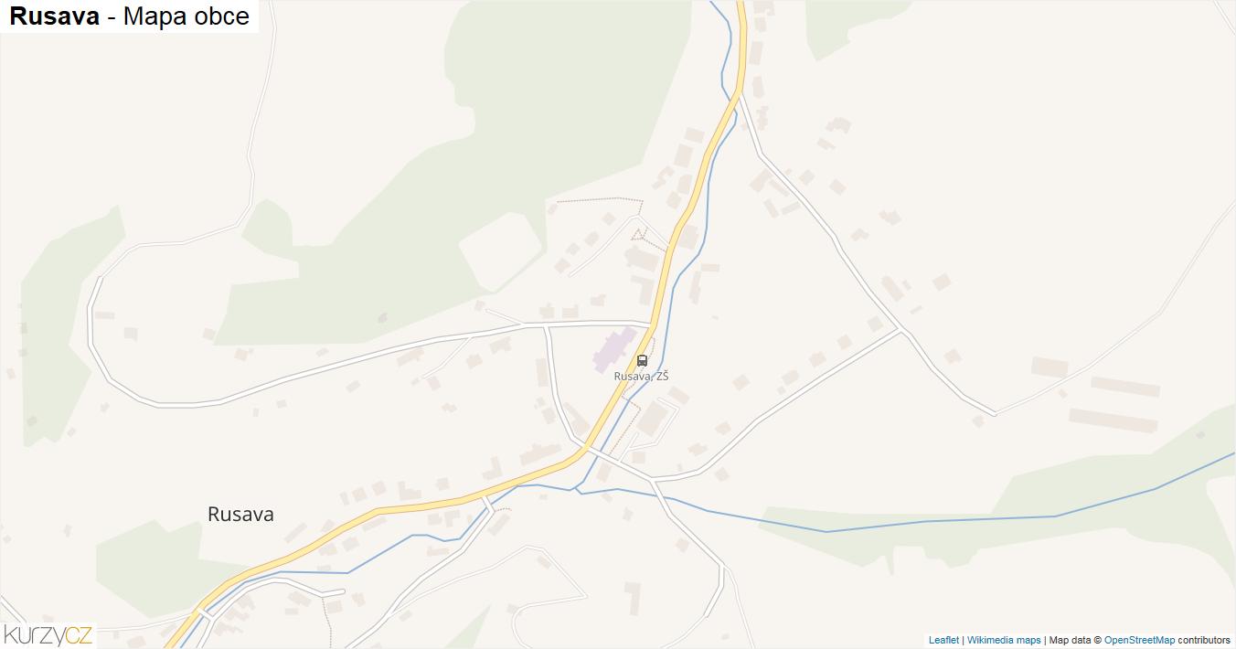 Rusava - mapa obce