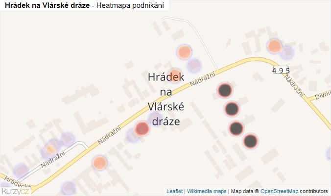 Mapa Hrádek na Vlárské dráze - Firmy v části obce.