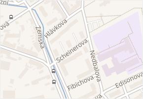 Scheinerova v obci Teplice - mapa ulice