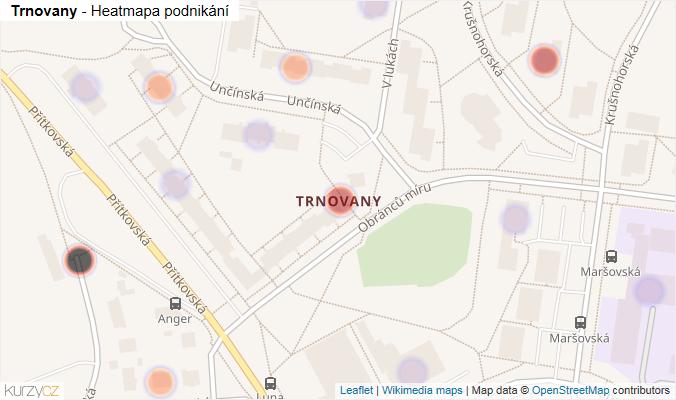 Mapa Trnovany - Firmy v části obce.