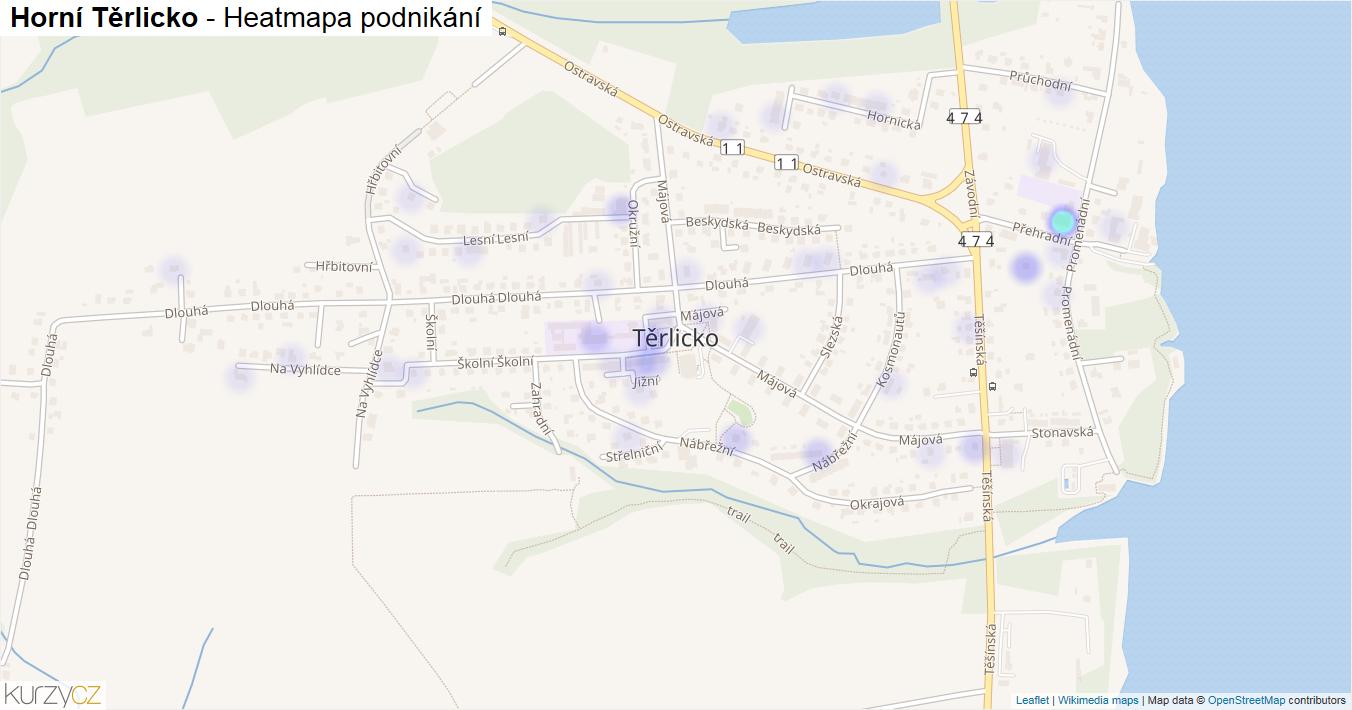 Horní Těrlicko - mapa podnikání