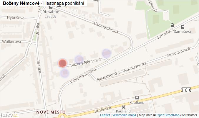 Mapa Boženy Němcové - Firmy v ulici.